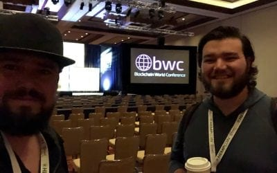 Monarch President Robert Beadles before for his main room presentation at Blockchain World Conference.