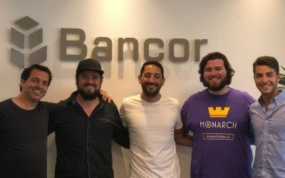 Monarch Token President Robert Beadles in Israel discussing the partnership with Bancor for their exchange and liquidity services.