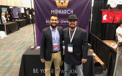 Monarch Token President and CEO, Robert Beadles and Sneh Bhatt. Taken at Crypto Invest Summit presenting Monarch Token to a full house.