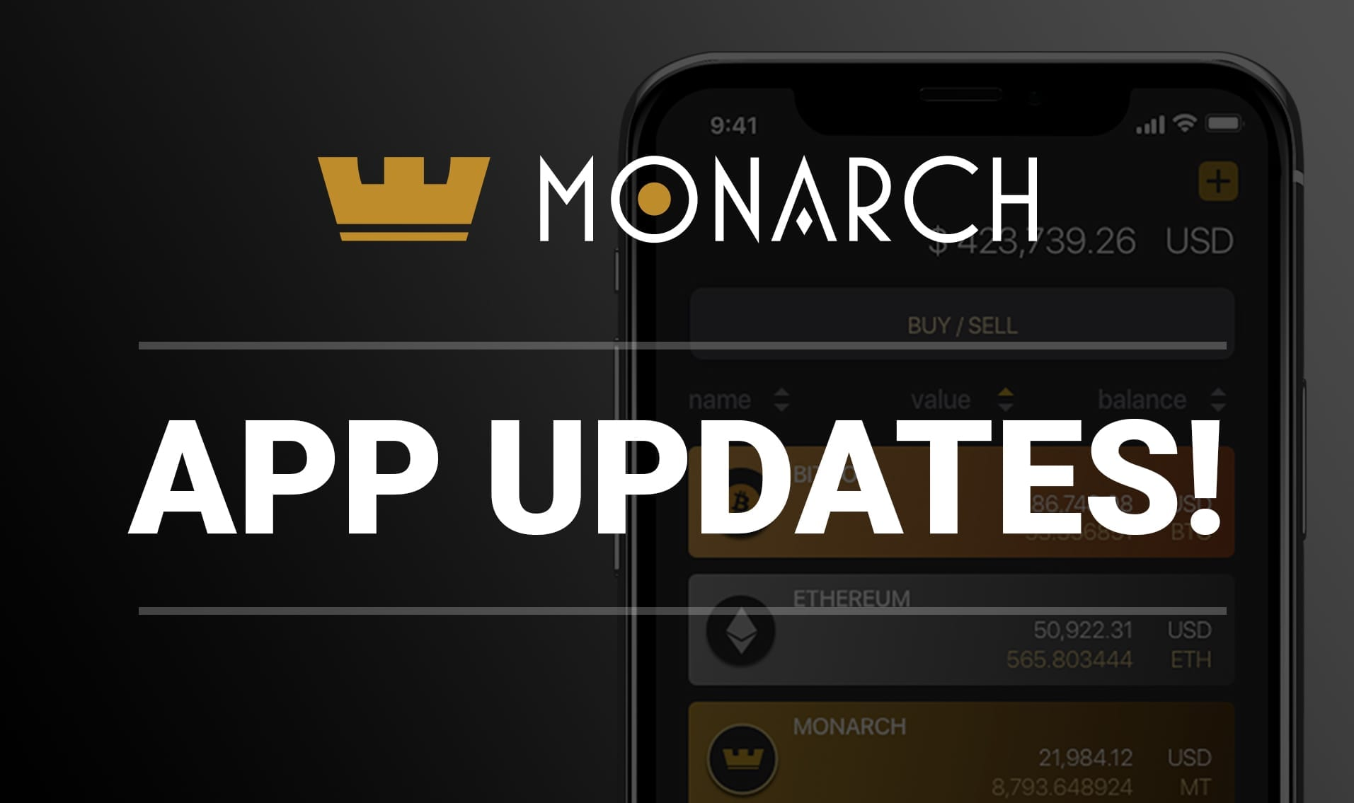 Monarch Wallet Update Hits Android and iOS Enabling Buying of BTC & ETH Using Your Bank Account or Credit Card!