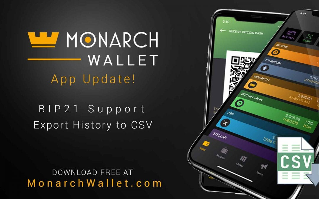 Monarch Wallet App Update Adds Crypto Transaction Export & BIP 21 QR Support!